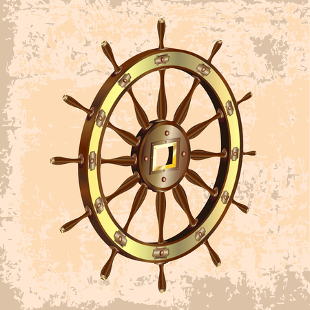 3d realistic steering wheel icon isolated on a light brown vintage background Иллюстрация