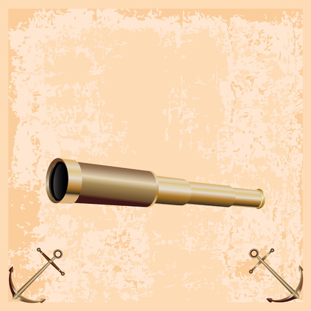 Realistic icon of vintage spyglass isolated on light brown retro background with two anchors Иллюстрация