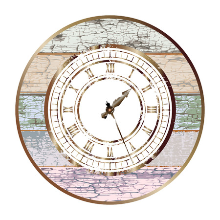 Vintage bronze dial in the center of retro board round base isolated on white background. Easy transform the position of clock hands