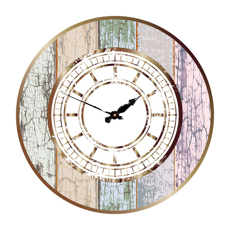 Vintage bronze dial in the center of retro board round base isolated on white background. Easy transform the position of clock hands Illusztráció