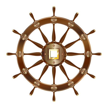 Vintage ship steering wheel icon isolated on white background