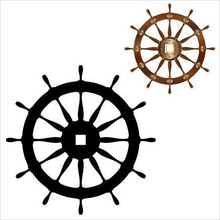 Realistic icon of ships wheel and black silhouette isolated on white background
