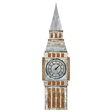 Vintage BigBen icon in retro style isolated on white background