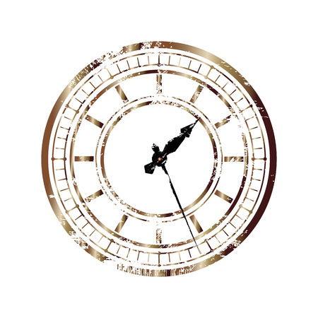 Vintage bronze dial isolated on white background. Easy transform the position of clock hands