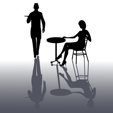 Silhouette of waiter walking with dish tray and lady sitting on the table isolated on white with shadow background Иллюстрация
