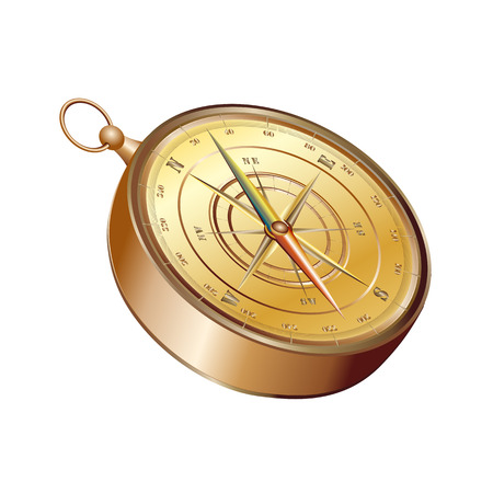 3d realistic vintage compass isolated on white background Иллюстрация