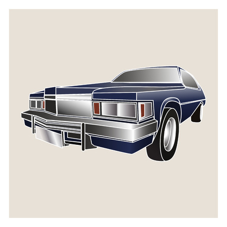 3d icon of classic American car isolated on a light background
