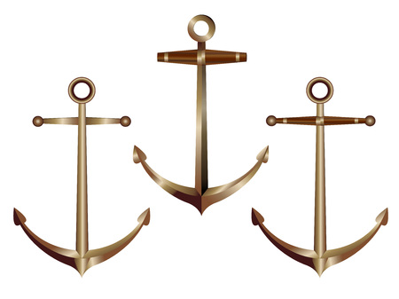 Set of realistic icons of bronze anchors isolated on white background