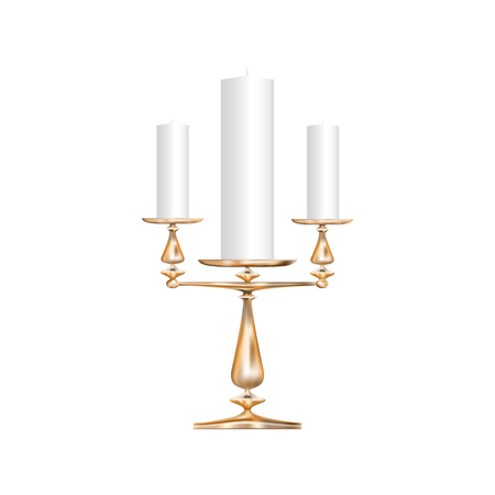 Realistic icon of a bronze candlestick with three candles isolated on a white background Иллюстрация