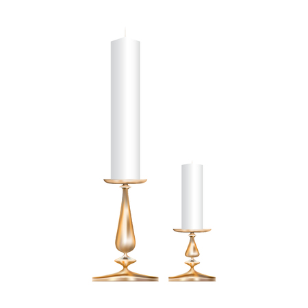 Icons of two realistic bronze candlestick with candles isolated on white background Иллюстрация