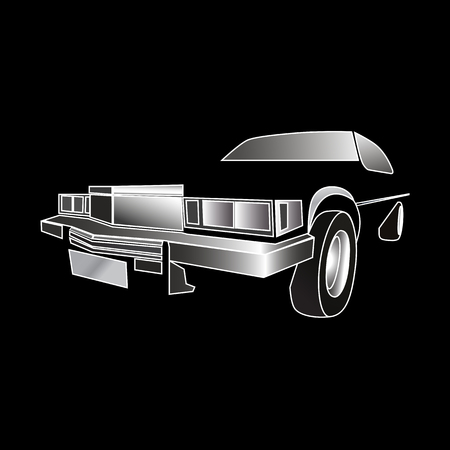 3-d outlines of classic American car in a black negative space Vektorové ilustrace