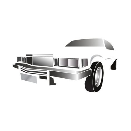 Three-dimensional outlines of classic American car in a white negative space
