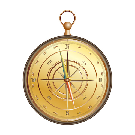 Realistic icon of vintage nautical compass isolated on a white background