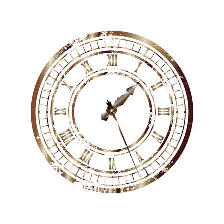 Cadran bronze vintage isolé sur fond blanc. Transformation facile des aiguilles d'horloge Vecteurs