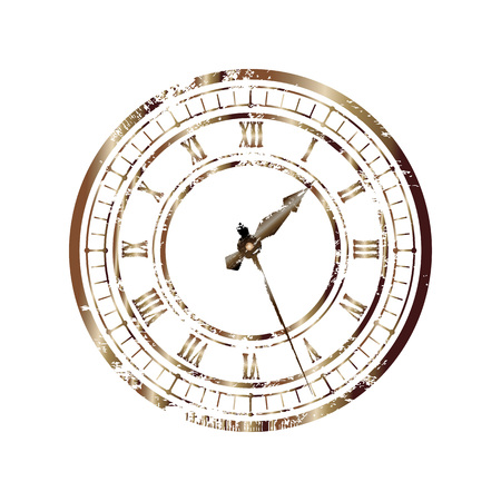 Esfera de bronce vintage aislada sobre fondo blanco. Fácil transformación de las manecillas del reloj Ilustración de vector