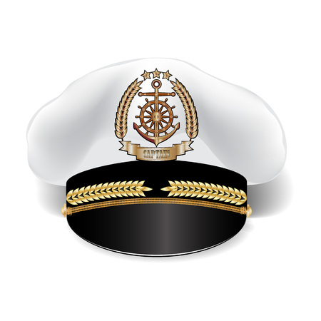 Captains realistic 3d cap with cockade isolated on white background