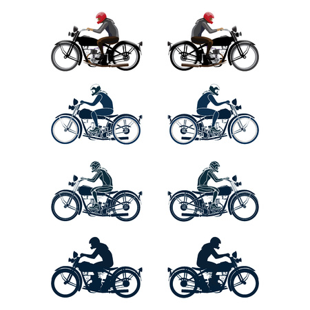 Set of different variations of retro biker isolated on white background