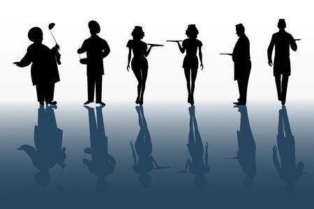 Ensemble de silhouettes noires de personnages de cuisine isolés sur blanc avec fond d'ombre yhe Vecteurs