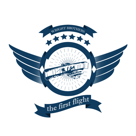 Aviation badge in retro style isolated on white background