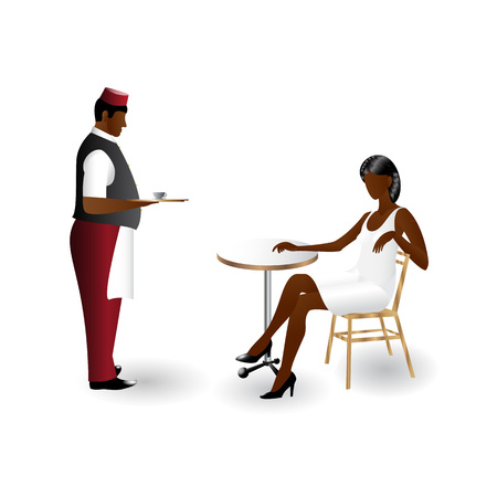 Waiter with a tray with a cup of coffee staying in front of girl sitting at the cafe table flat icons isolated on white background