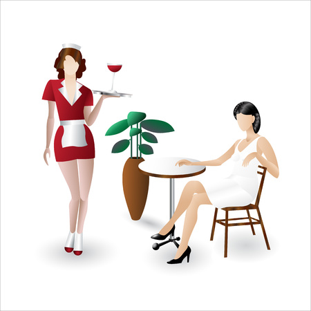 Waitress with a tray with a cup of coffee staying in front of girl sitting at the cafe table flat icons isolated on white background