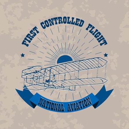 Aviation emblem in retro style on a light vintage background