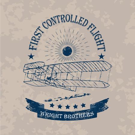 Le premier vol de l'étiquette d'avion des frères Wright dans un style rétro sur un fond vintage clair Vecteurs