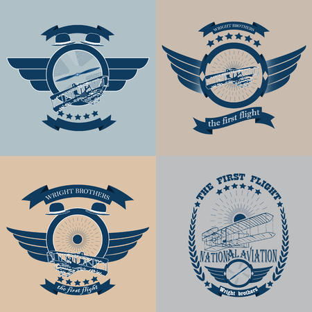 Set of aviation icon stickers and badges in retro style isolated on light background
