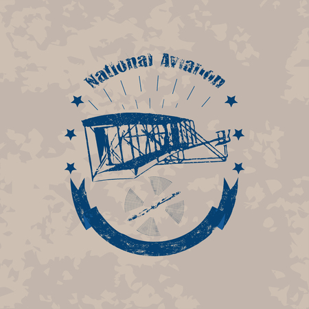 Aviation badge with first airplane in retro style on light vintage background