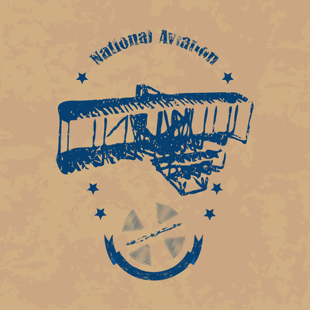 Emblem with the image of an airplane in retro style on a brown vintage background