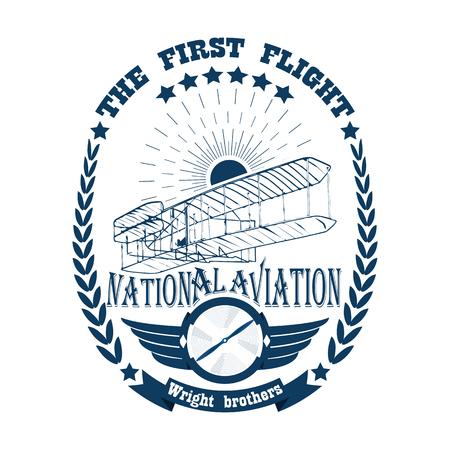 Icône de l'étiquette de l'aviation dans un style rétro isolé sur fond blanc