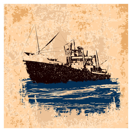 Old merchant navy ship in retro style on vintage light brown background