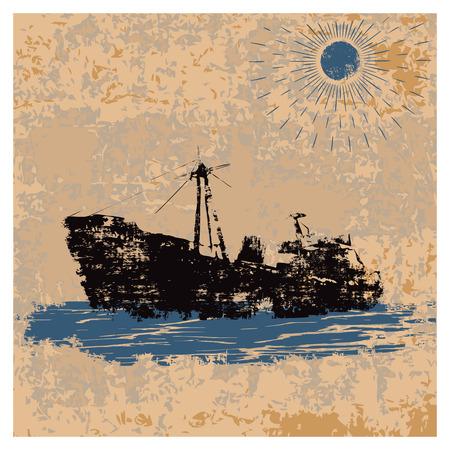 Antiguo buque de la marina mercante en estilo retro sobre fondo vintage