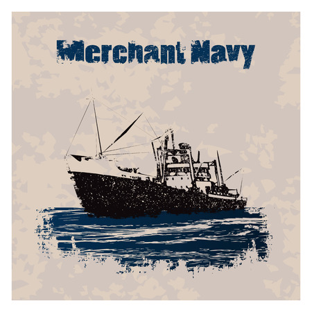 Old merchant navy ship in retro style on vintage background Иллюстрация