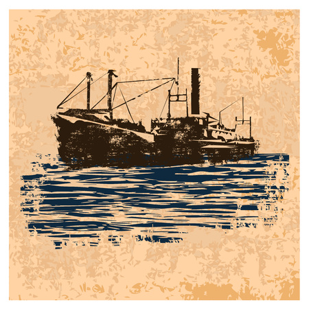 Old merchant navy ship in retro style on  light brown vintage background