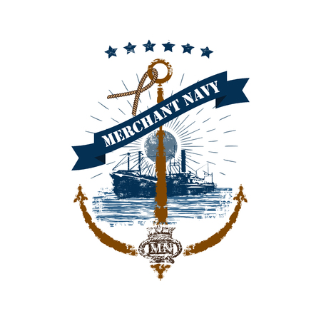 Merchant Navy anchor badge in retro style isolated on white background