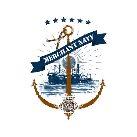 Odznaka kotwicy marynarki handlowej w stylu retro na białym tle