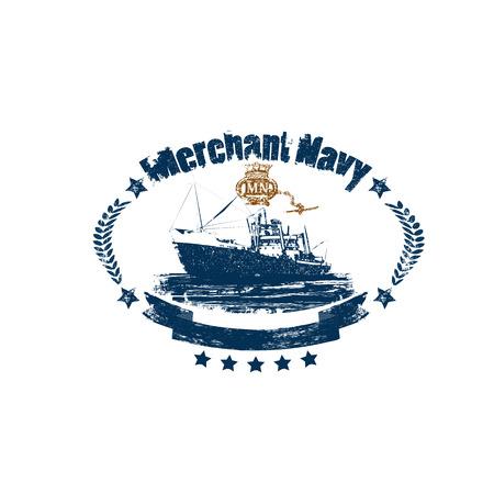 Distintivo della marina mercantile in stile retrò isolato su sfondo bianco Vettoriali
