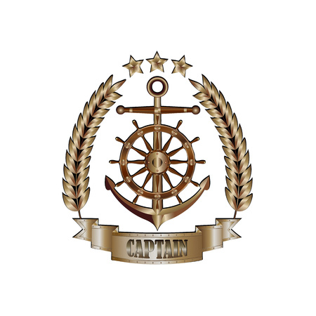Marine captains cockade isolated on white background