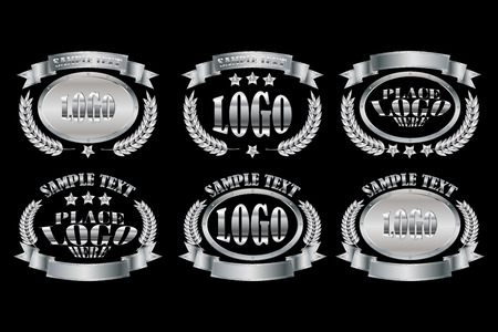 Set of silver oval badges realistic icons isolated on black background