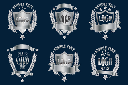 Silver badges realistic icons set isolated on white background