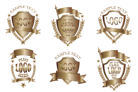 Ensemble d'icônes réalistes de badges en bronze isolé sur fond blanc Vecteurs