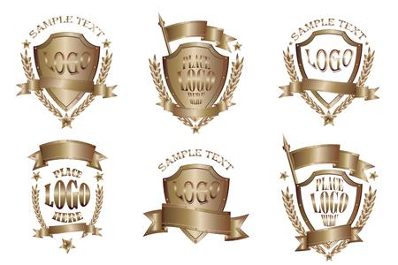 Bronze badges realistic icons set isolated on white background