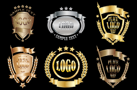 Set of metal badges realistic icons isolated on black background Иллюстрация