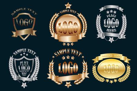 Zestaw metalowych emblematów realistycznych ikon na białym tle na czarnym tle