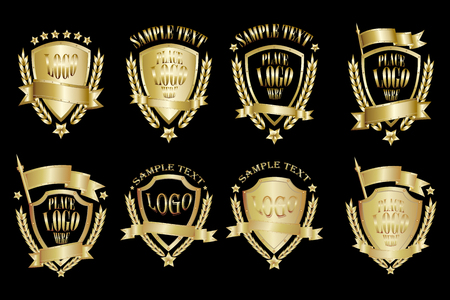 Set of brass badges realistic icons isolated on black background