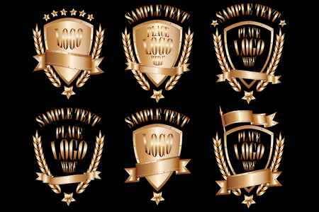Copper badges realistic icons set isolated on black background