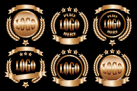Copper round badges realistic icons set isolated on black background