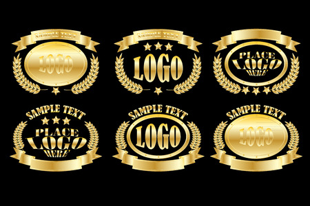 Set of golden oval badges realistic icons isolated on black background