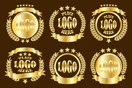 Set of golden round badges realistic icons isolated on dark copper background Иллюстрация